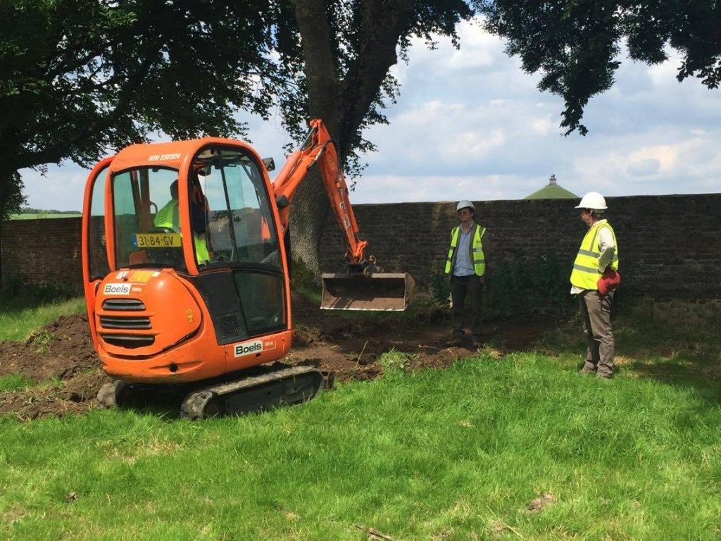 Boels mini digger in the walled garden