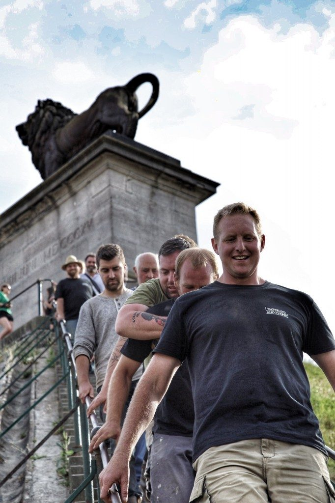 The team coming down the Lion Mound