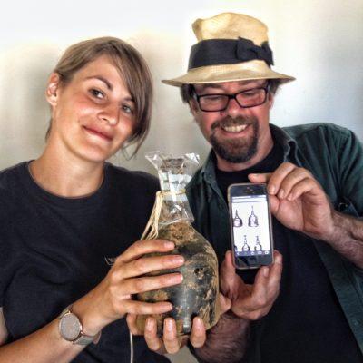 Eva and Tony with the battle era bottle