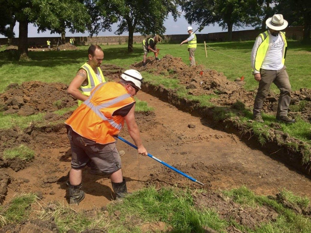Excavating the ground in the walled garden