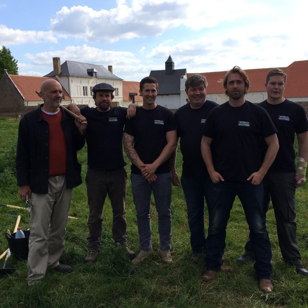 The team - L-R Dominique Bousquet, Tony Pollard, LCpl Lewis Wybrow (Grenadier Guards), Robert Cummings (Scots Guards), Mark Evans and Gdsm Sean Douglas (Coldstream Guards)