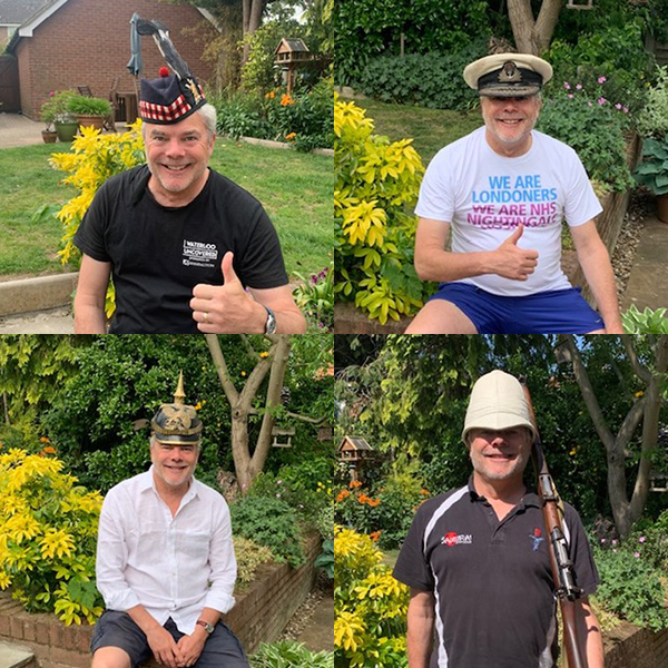 Four images of Welfare officer Rod Eldridge. In each image he is wearing a different and interesting hat.