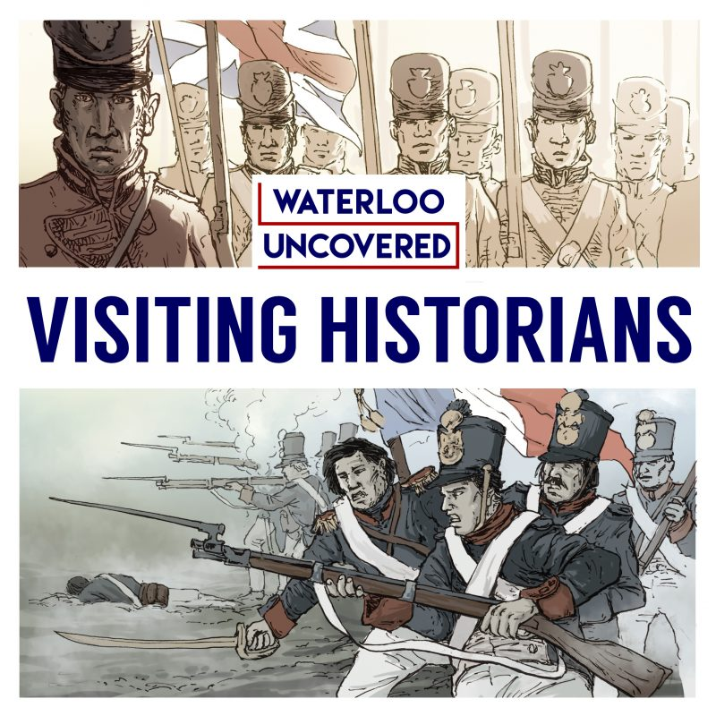 Cover art of the Visiting Historians podcast, featuring illustrations of British and French troops
