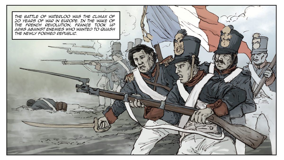 First panel of the upcoming Waterloo comic strip, featuring troops charging in front of a French flag