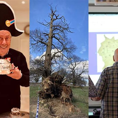Three images, of Gyles Brandreth, a fallen chestnut, and a participant on the Battlefields Uncovered course respectively