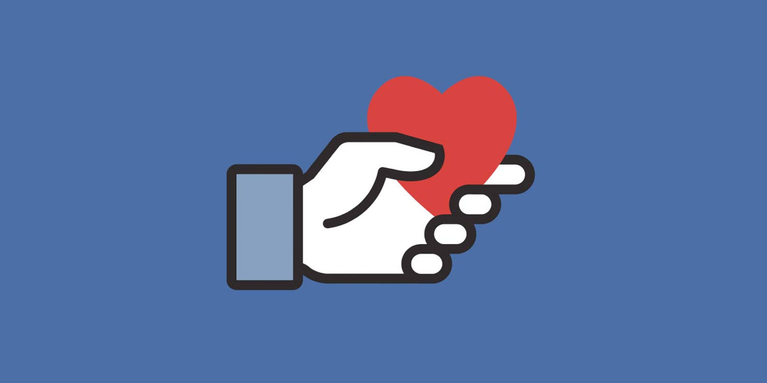 Facebook fundraising logo showing a hand holding a heart