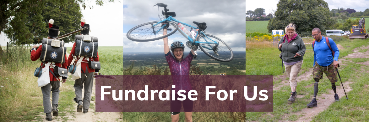 Veterans and volunteers walking and cycling to raise money for Waterloo Uncovered. Fundraise for Us is written over the picture.