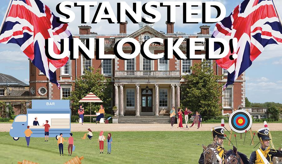 A promotional image for the Stansted Unlocked event showing Stansted House