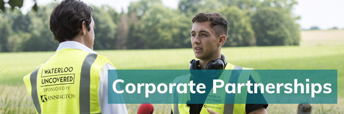 A serving soldier being interviewed for the BBC while wearing an Annington branded high vis. Corporate Partnership is written over the picture.