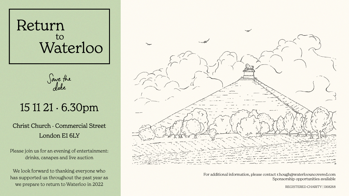 A Save the Date graphic for the Return to Waterloo event held at Christ Church in London on the 15th of November 2021